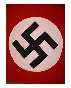 Reproduction Nazi Party Banner With Large Center Swastika
