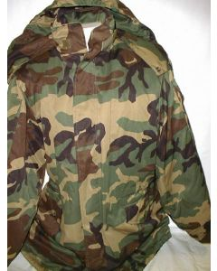 Lithuanian Woodland Pattern Camouflage Winter Jacket With Quilted  lining, Detachable Hood, 2 Lower Pockets, 2 Sleeve Pockets, Drawstring Waist