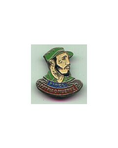 An Interesting Small Size BADGE Depicting Multicolor Bust Of FIDEL CASTRO