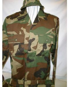 Eritrian Army Woodland Camouflage Uniforms(Jacket, Pants, Cap)Jacket Is 4 (Hidden) Button Open Collar With 2 Upper Chest Pockets, EpaulettesPants Have 2 Front Pockets, 2 Back Pockets, 2 Cargo PocketsSize XL With manufacturers Label