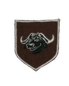 Reproduction Rhodesian Army 3 Brigade Arm Patch, Embroidered, Black And White Water Buffalo On Brown