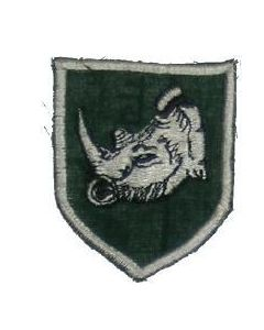 Reproduction Rhodesian Army 2 Brigade Arm Patch, Embroidered, White Rhino On Green