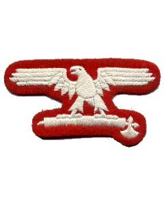 RSE182.Italian Waffen SS EM sleeve eagles.White on Red.