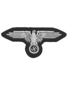 RSE2.Waffen SS officers sleeve eagle.Hand embroidered silver wire  and bullion on black