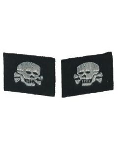 RSE348.Waffen SS NCO mirror image skull collar tabs. Hand embroidered aluminum thread. Skull facing to the front.