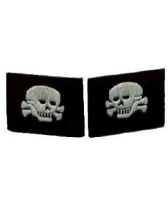 RSE349.Waffen SS EM-NCO mirror image skull collar tabs. Hand embroidered silver grey thread. Skull facing to the front.