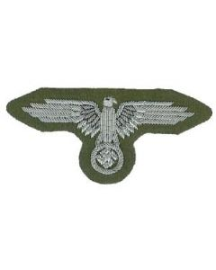 RSE35.Waffen SS officers sleeve eagle.Silver bullion and wire on Green
