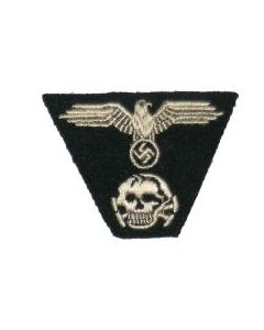 RSE596.Waffen SS embroidered M43 cap insignia on Black.
