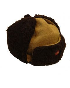 Soviet WW2 reproduction enlisted ranks winter hats. Tan wool fabric with Dark Brown fur. Comes with cap star