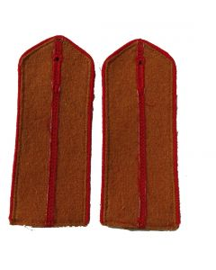 Soviet Artillery and Tank troops junior officer shoulder boards with red piping and red center stripe on Tan fabric