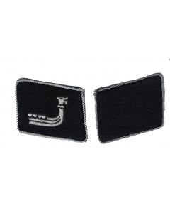 "RSE175.5th SS Panzer Division ""Wiking"" officer collar tabs.Aluminum thread Viking ship on black"